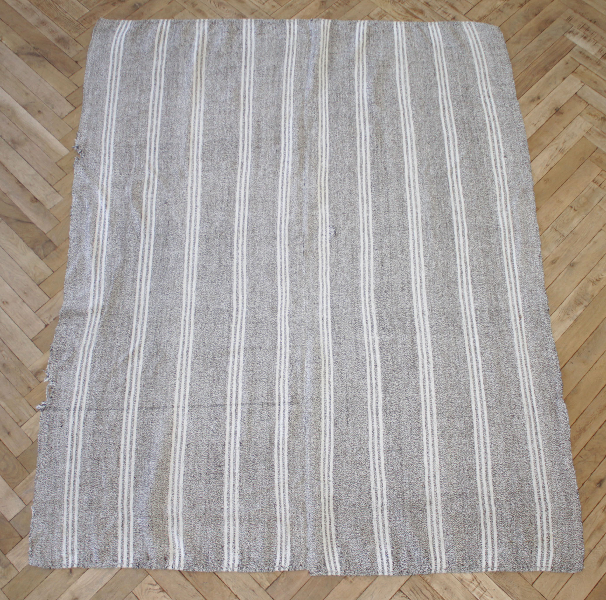 Vintage Turkish Flat-Weave Rug Gray Brown and White Stripes