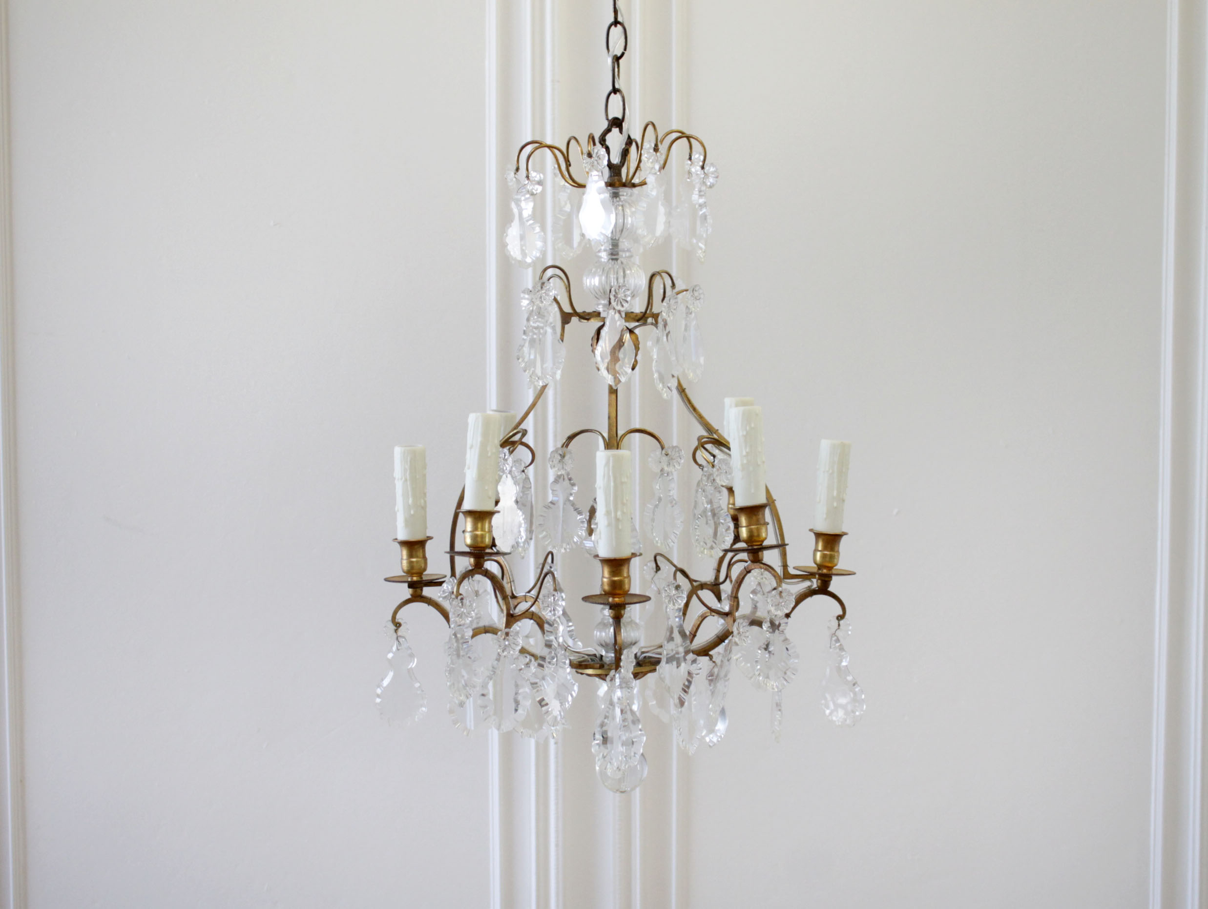 Vintage Brass Chandelier with Crystals