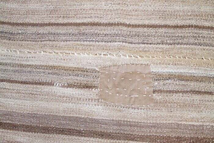 Vintage Hemp Turkish Stripe Rug in Tan with Brown Tone Colored Stripes