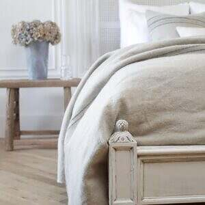 Vintage Queen Louis XVI Style Platform Cane Bed