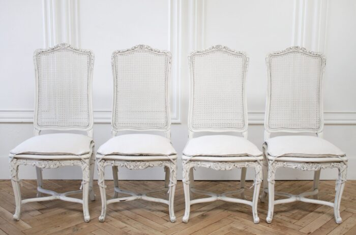 Vintage Cane Back Louis XV Style Dining Chairs with Linen Slip Covered Cushions