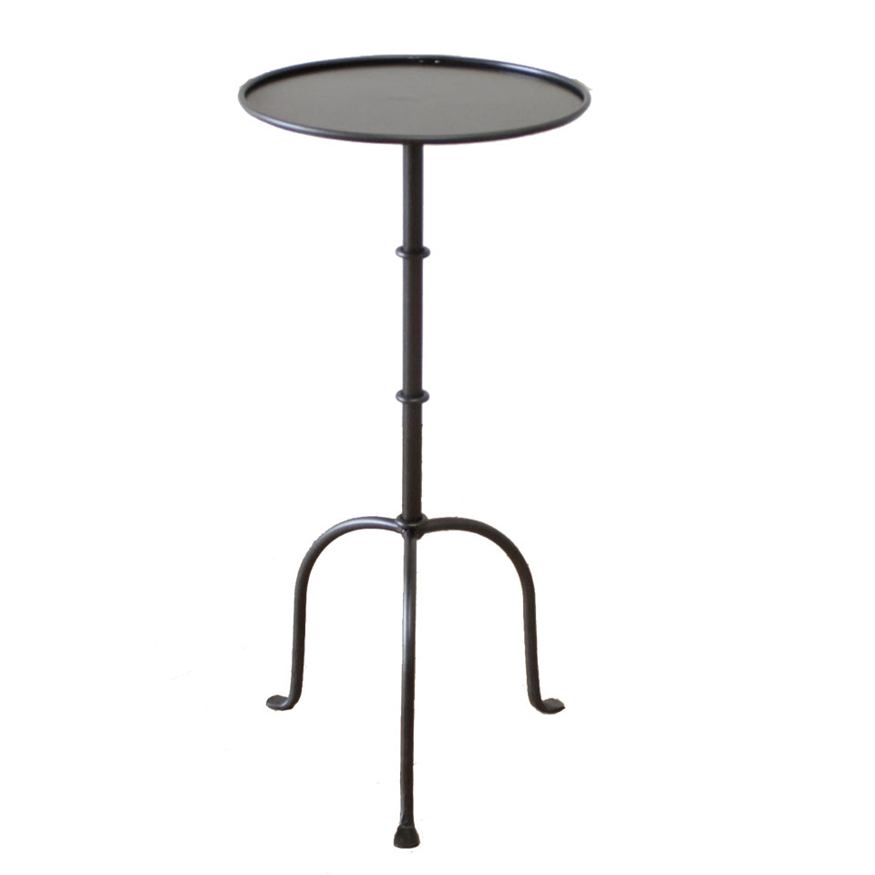 Cannes Tall Iron Drink Table in Iron Finish or Brass Finish