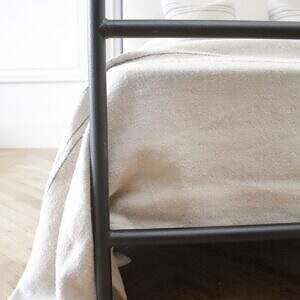 Custom Made Iron Canopy Bed with Organic Belgian Linen Headboard