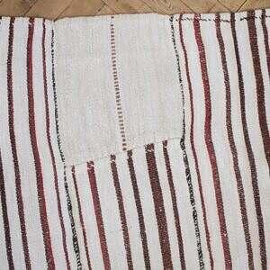 Vintage Hemp Turkish Stripe Rug in White with Brick Tone Colored Stripes