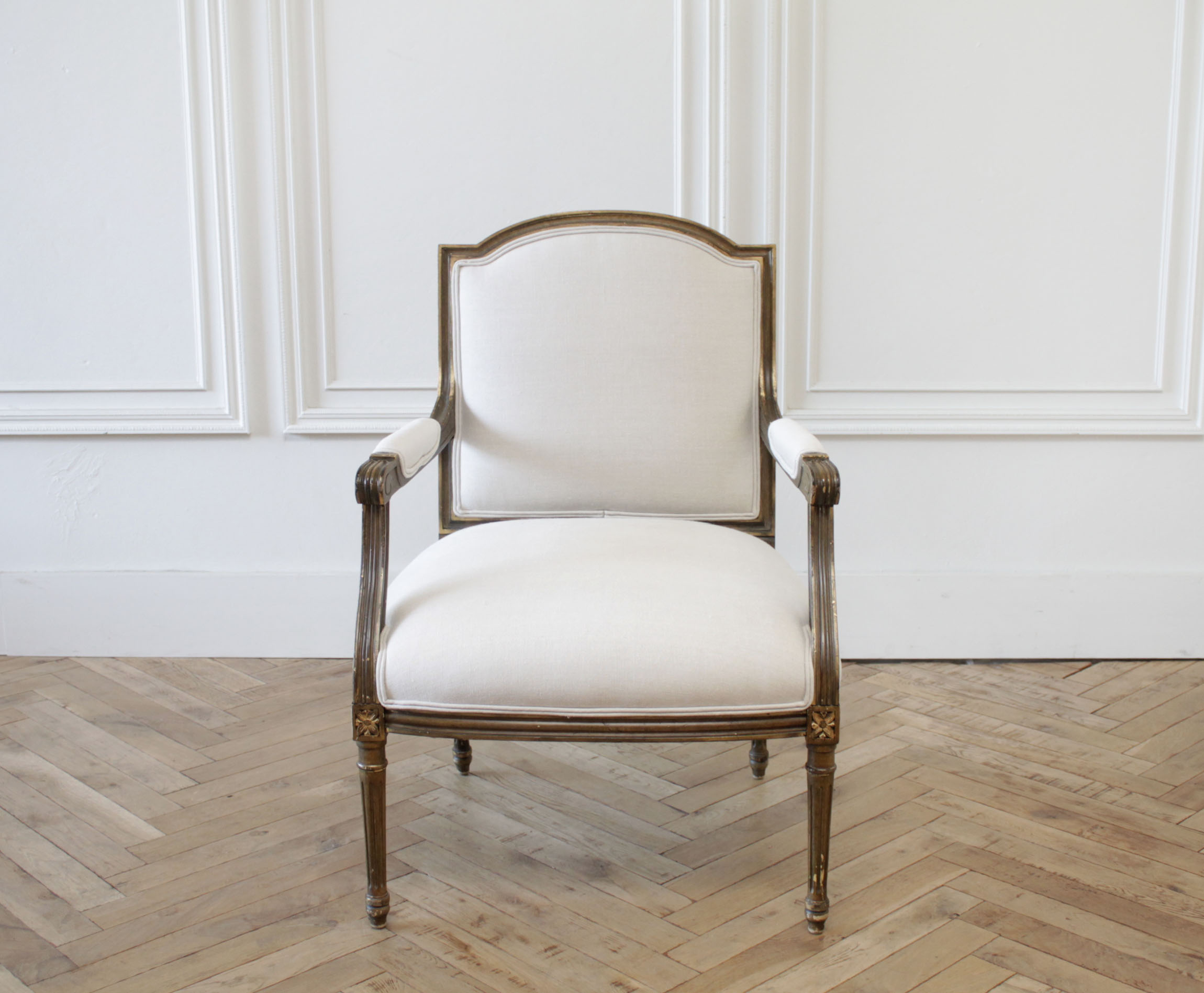 20th Century Original Finish Giltwood Patina Louis XVI Style Open Armchair