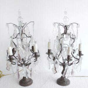 Pair of Bronze Girandoles with Light Amethyst Crystals