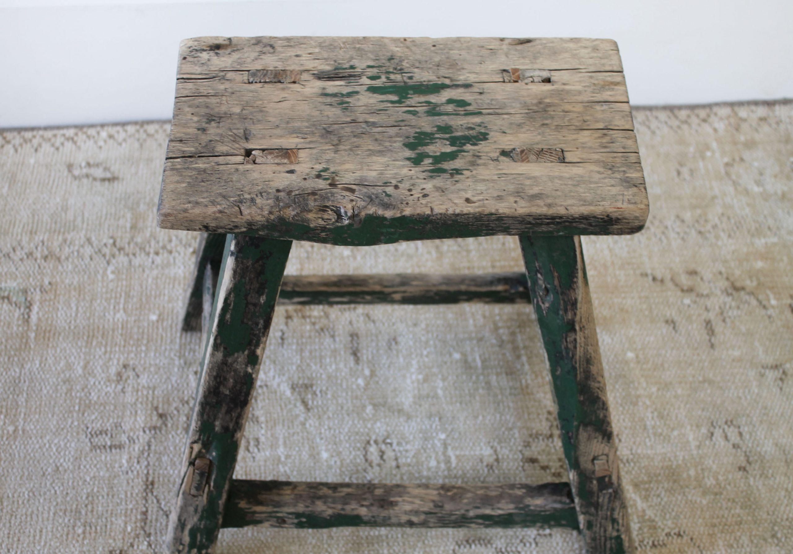 Antique Elm Wood Stool with Faded Green Paint