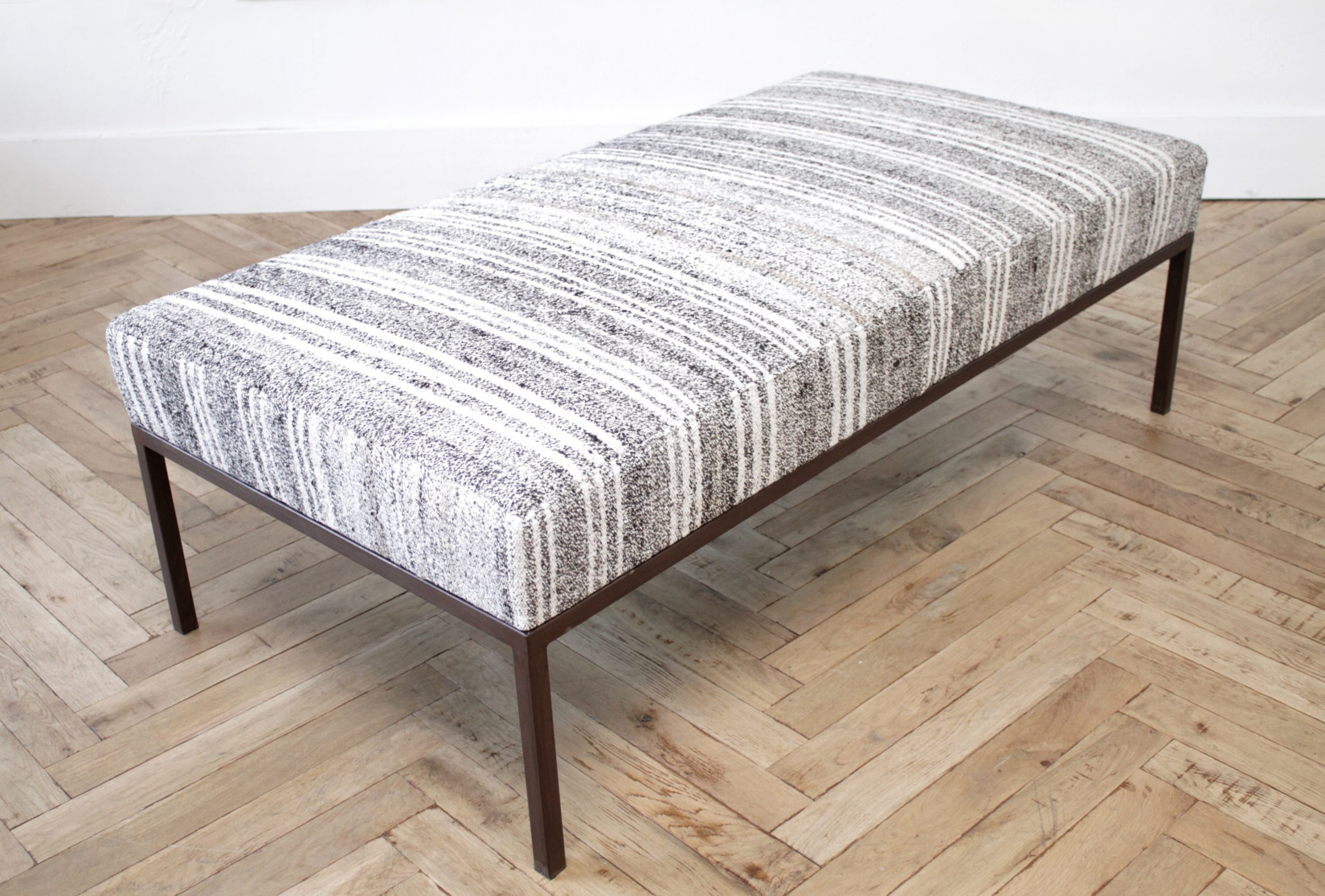 Custom Made Iron Upholstered Cocktail Table Bench Ottoman
