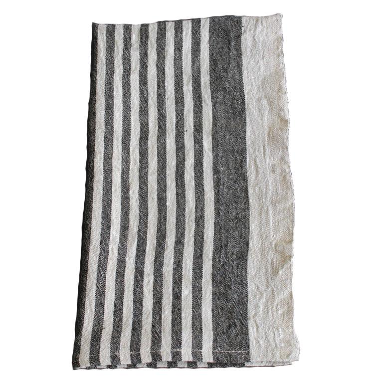 100% Belgium Linen Hand Towel/Black Stripe
