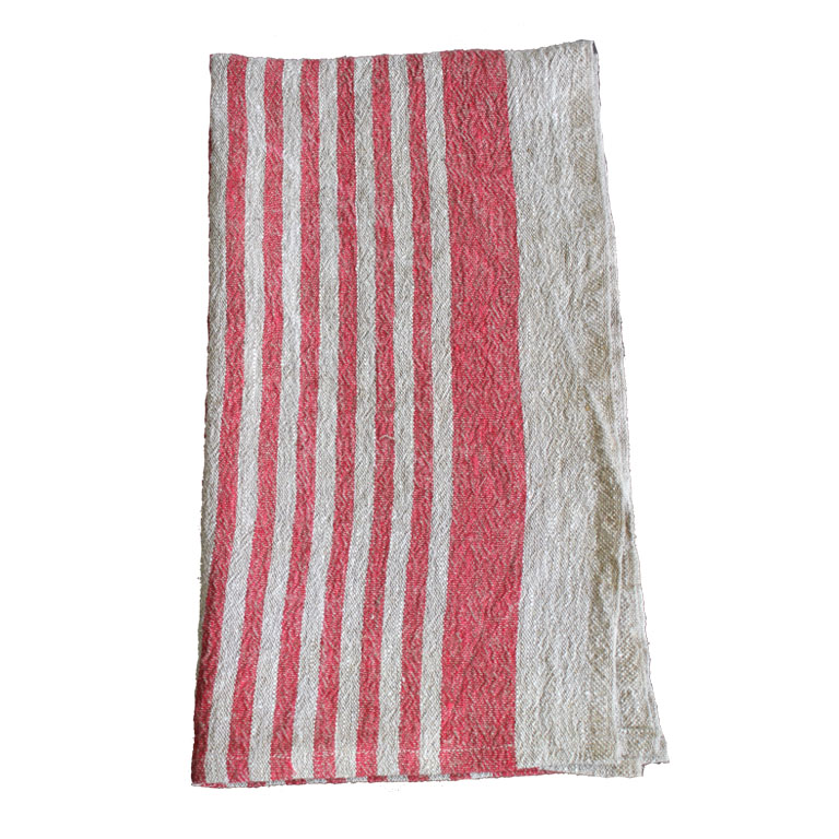 100% Belgium Linen Hand Towel/Red