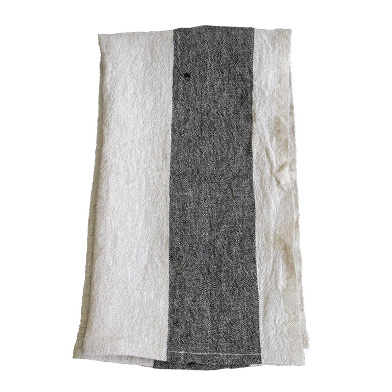 100% Belgium Linen Hand Towel in Wide Stripe