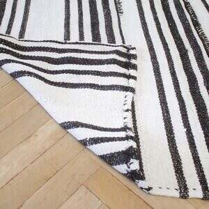 Vintage Flat Weave Hemp Stripe Turkish Rug White with Dark Brown Stripes