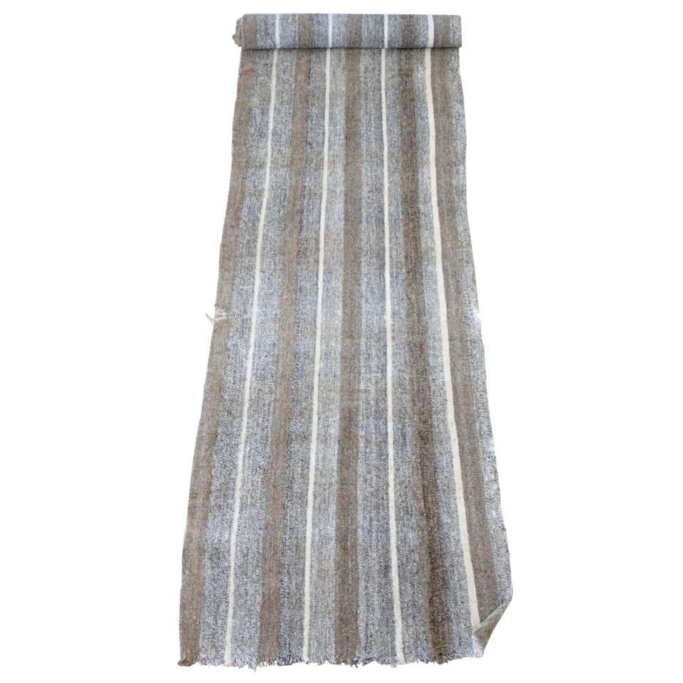 Vintage Turkish Flat-Weave Lex Rug Runner Brown Cream and Coral Stripes