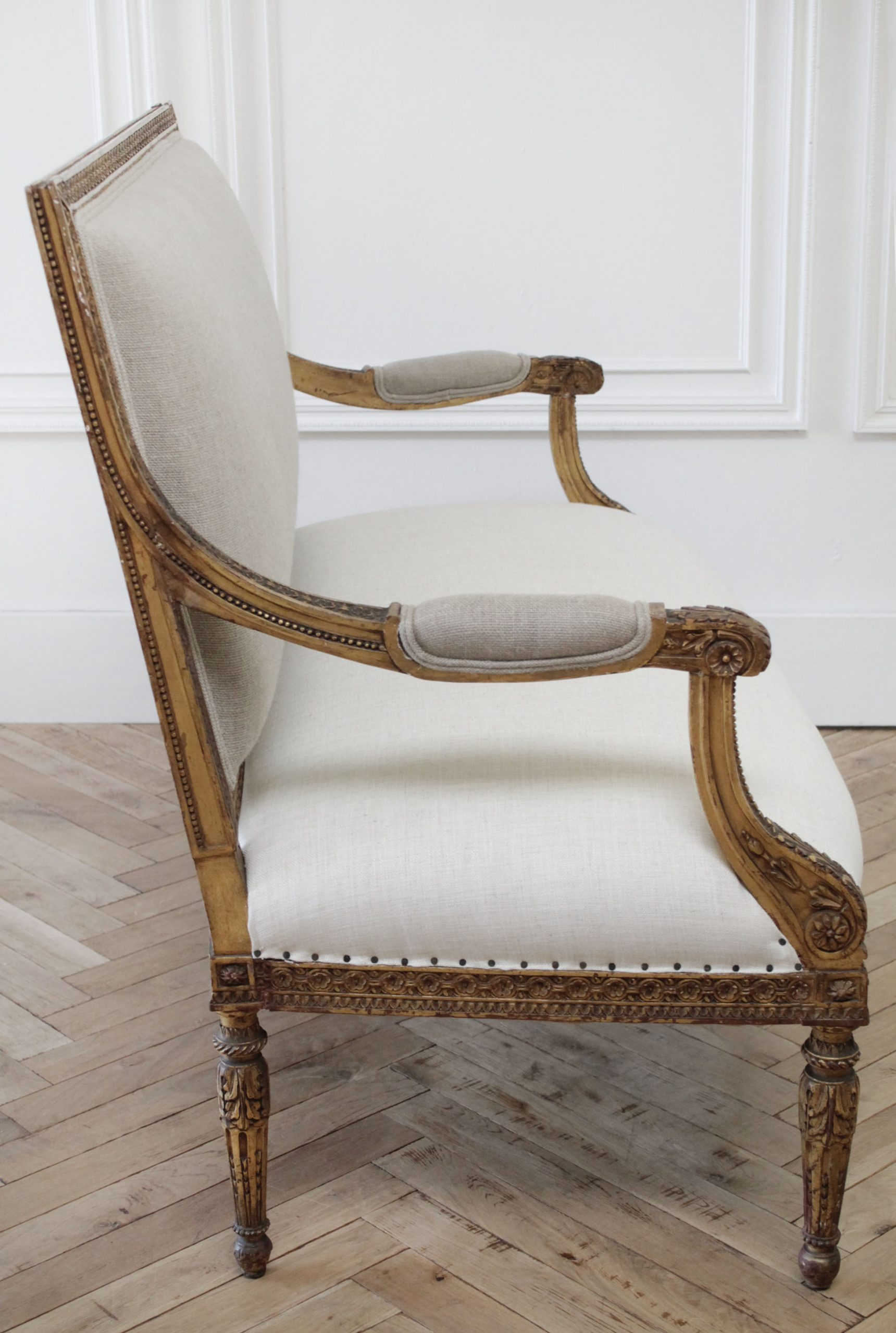 Antique Louis XVI Style Giltwood Settee in Linen