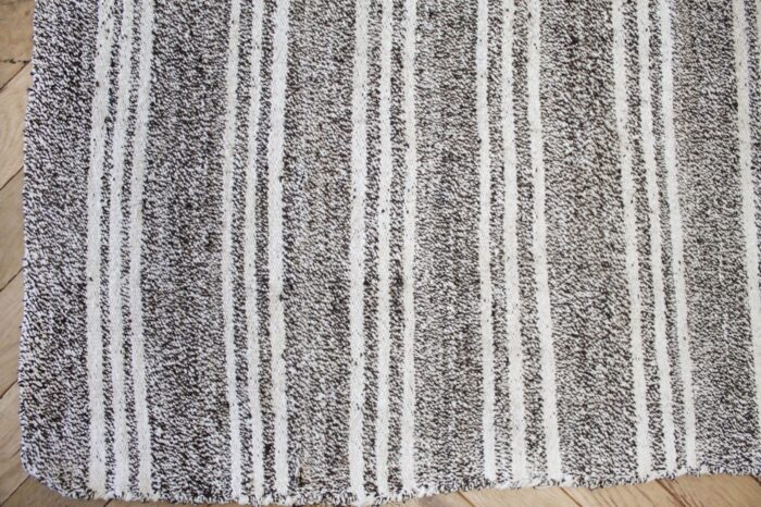 Vintage Ollie Flat-Weave Turkish Rug Brown Gray and White Stripes