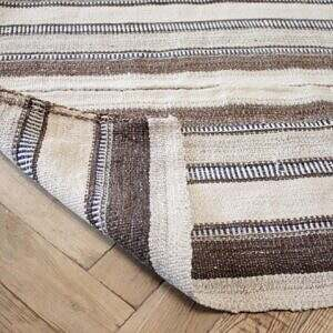 Vintage Turkish Multi Tone Brown Kilim Rug with Stripes