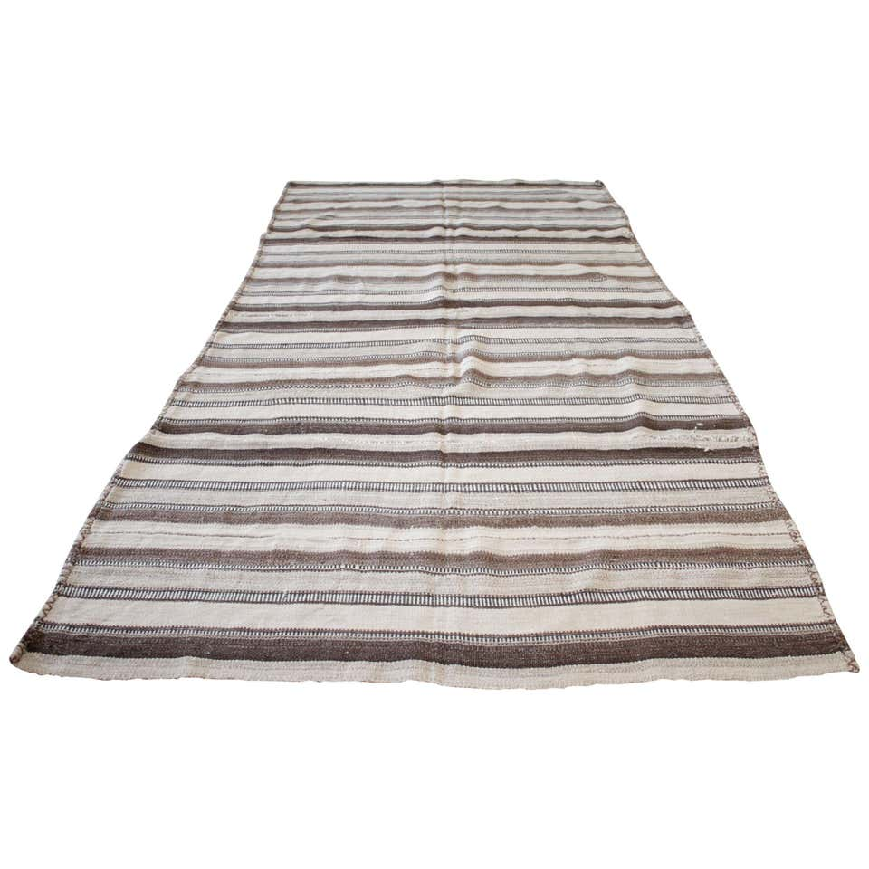 Vintage Turkish Multi Tone Brown Kilim Rug with Stripes