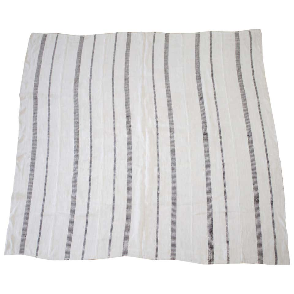 Vintage Flat-Weave Turkish Hemp Rug Off-White with Stripes