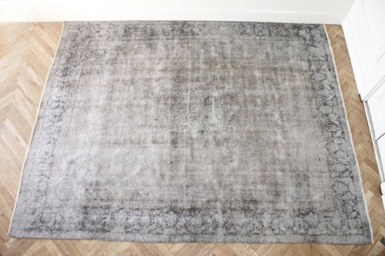 Soma Vintage Wool Turkish Rug in Blue Tones