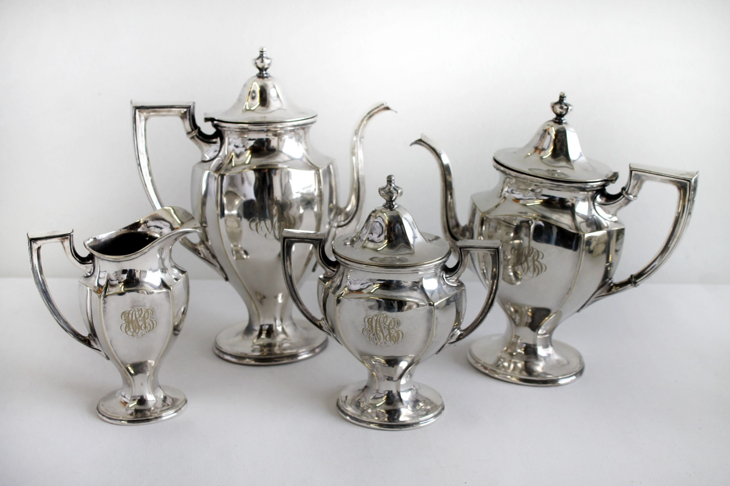 Vintage circa 1920s Gorham Monogram Silver Plate Coffee Tea Set