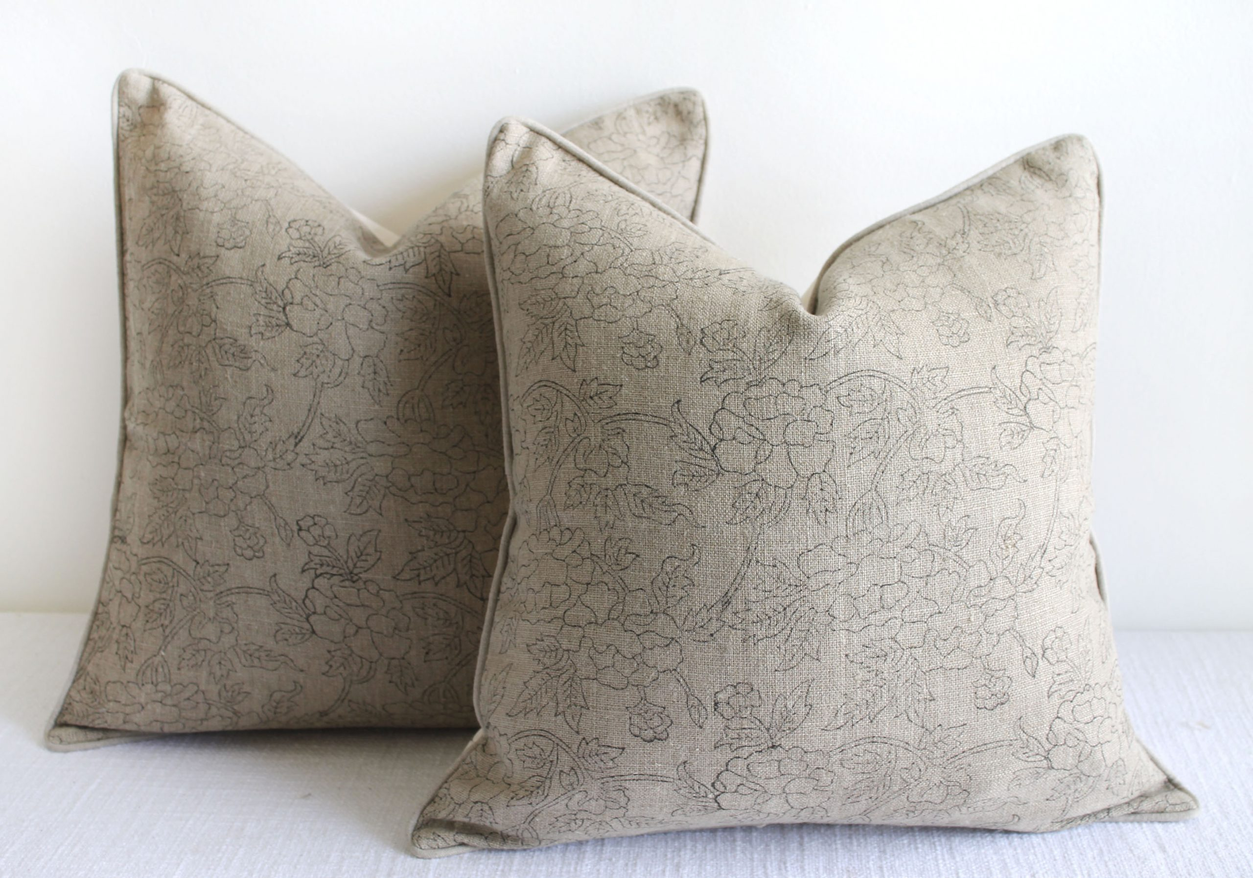 Natural Linen Floral Accent Pillow Covers