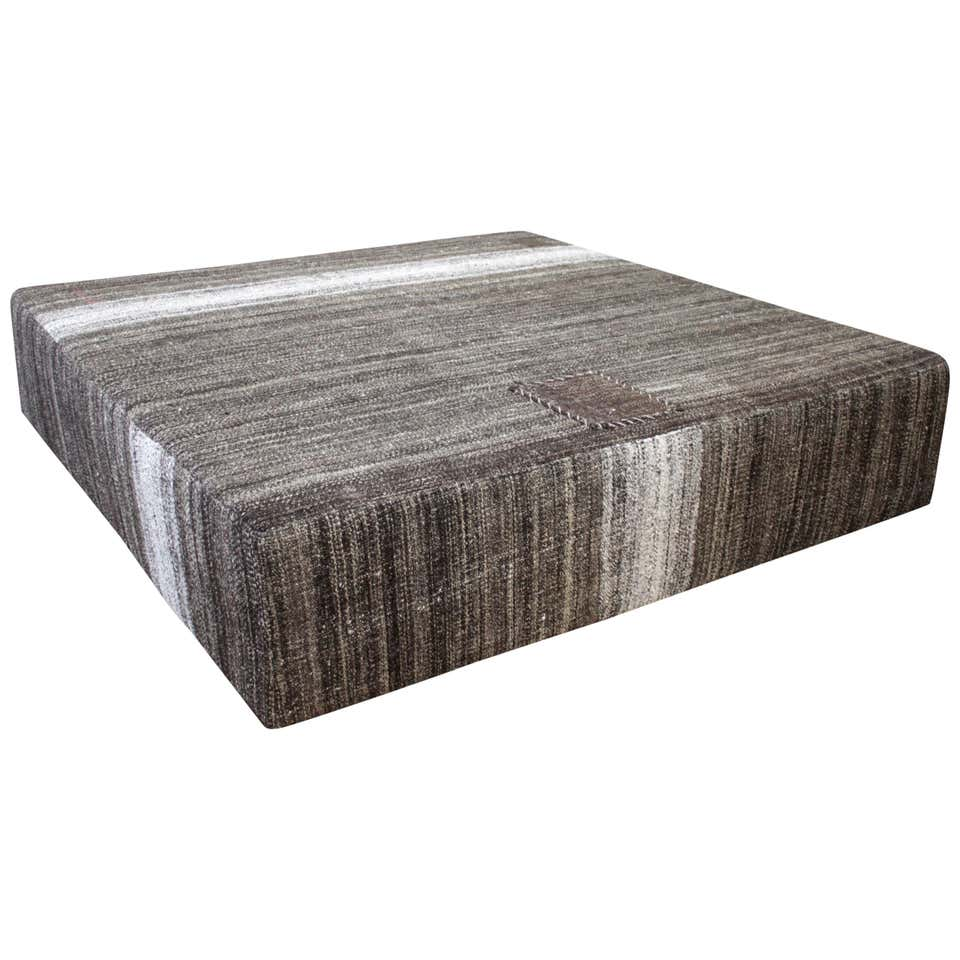 Large Square Custom Made Turkish Rug Cocktail Ottoman