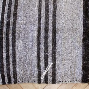 Vintage Turkish Flat-Weave Teresa Rug Gray and Brown Stripes