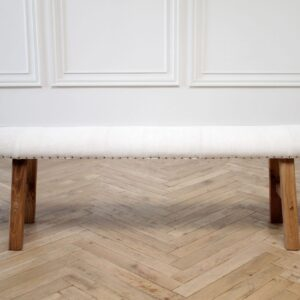 Elmwood Bench Upholstered in Antique White Homespun Linen and Antique Tack Trim