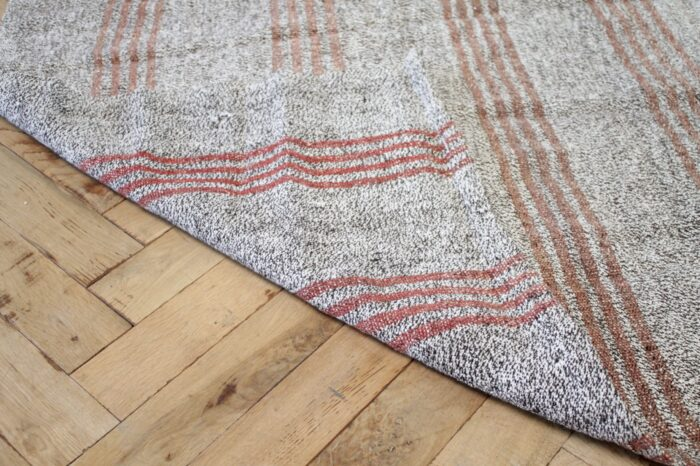 Vintage York Flat-Weave Turkish Rug in Gray Cream and Light Coral Stripes