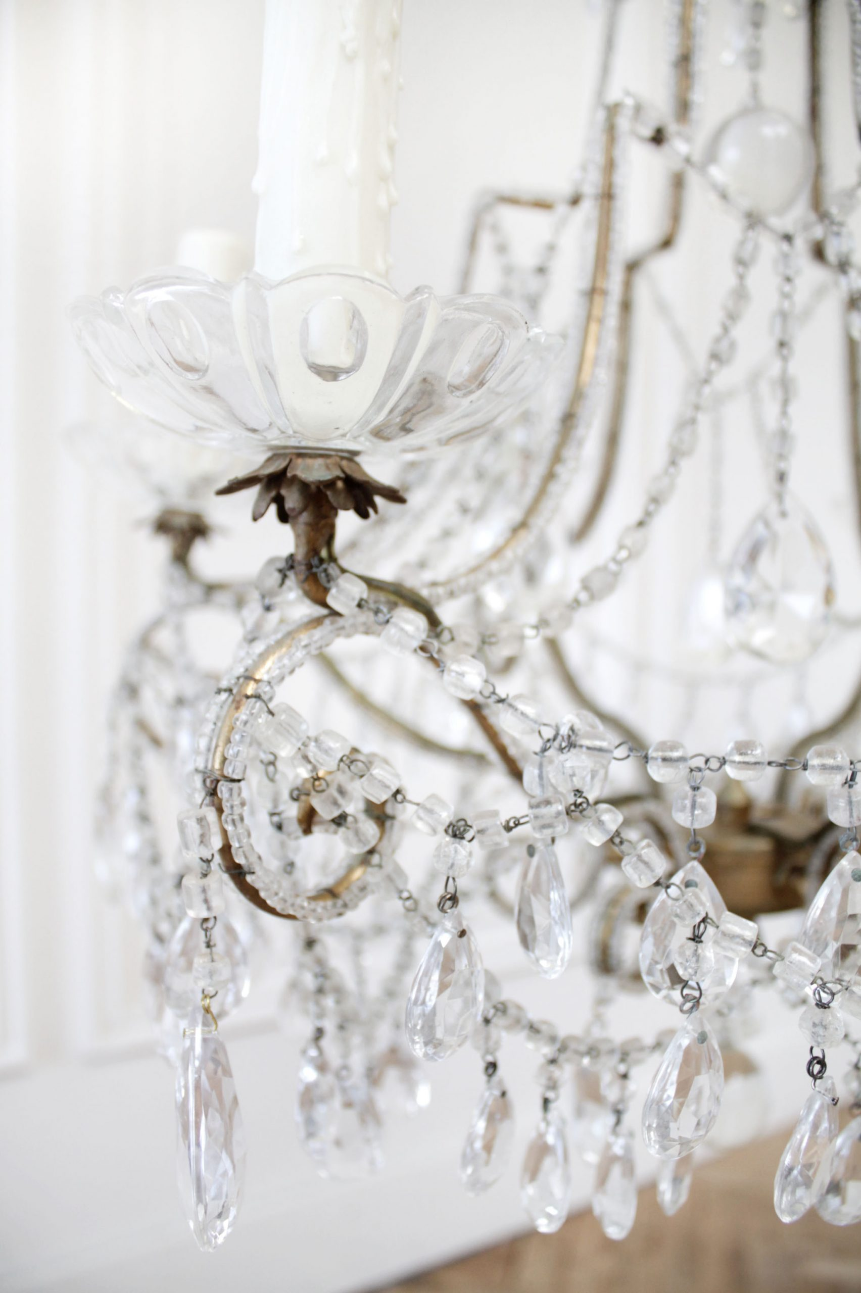 Antique French Beaded Arm Chandelier