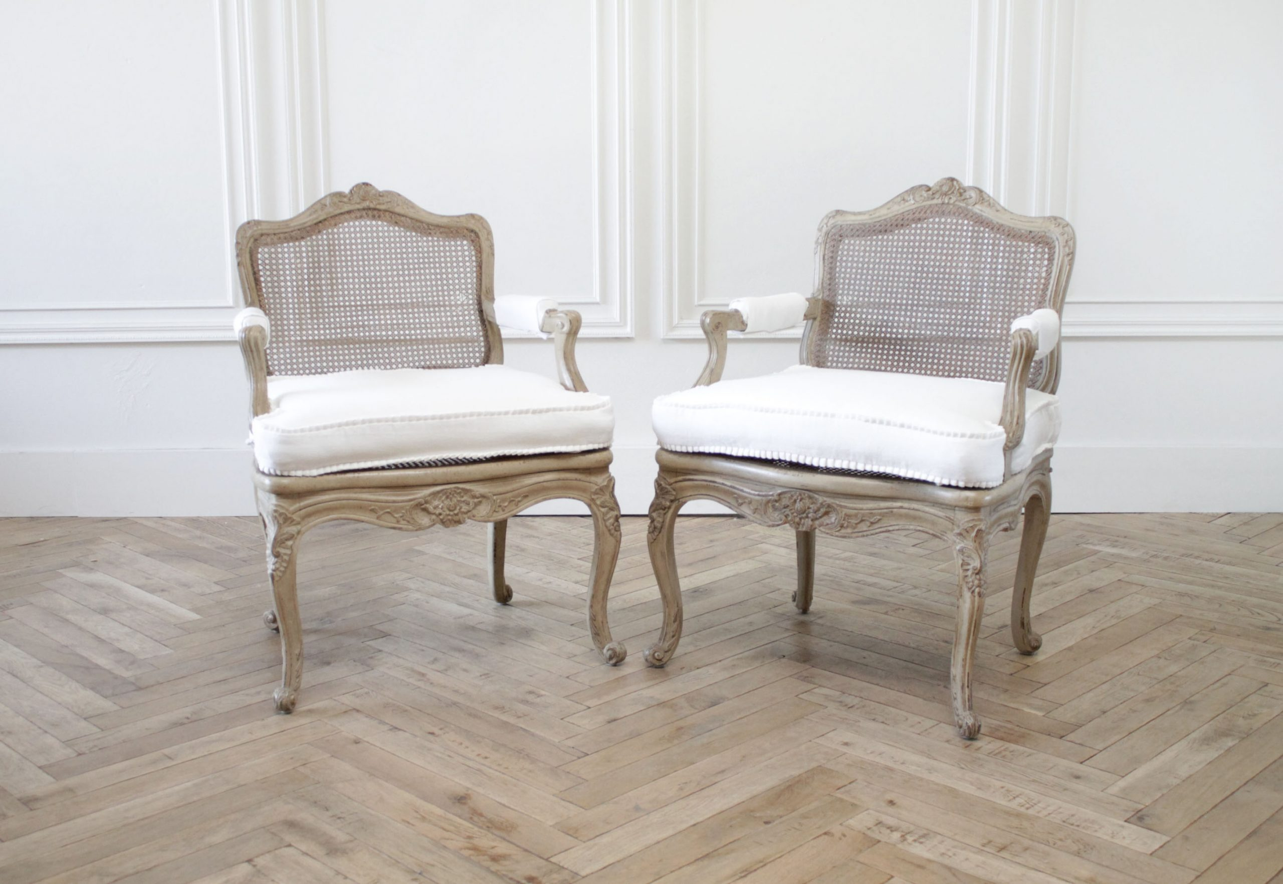 Pair of Antique French Arm Chairs in Original Painted Finish and White Linen