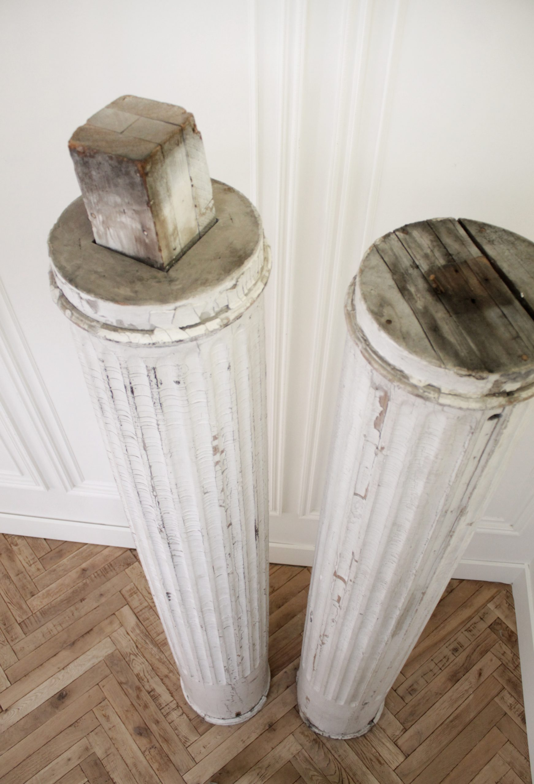 Pair of Antique Architectural Fluted Columns with White Paint