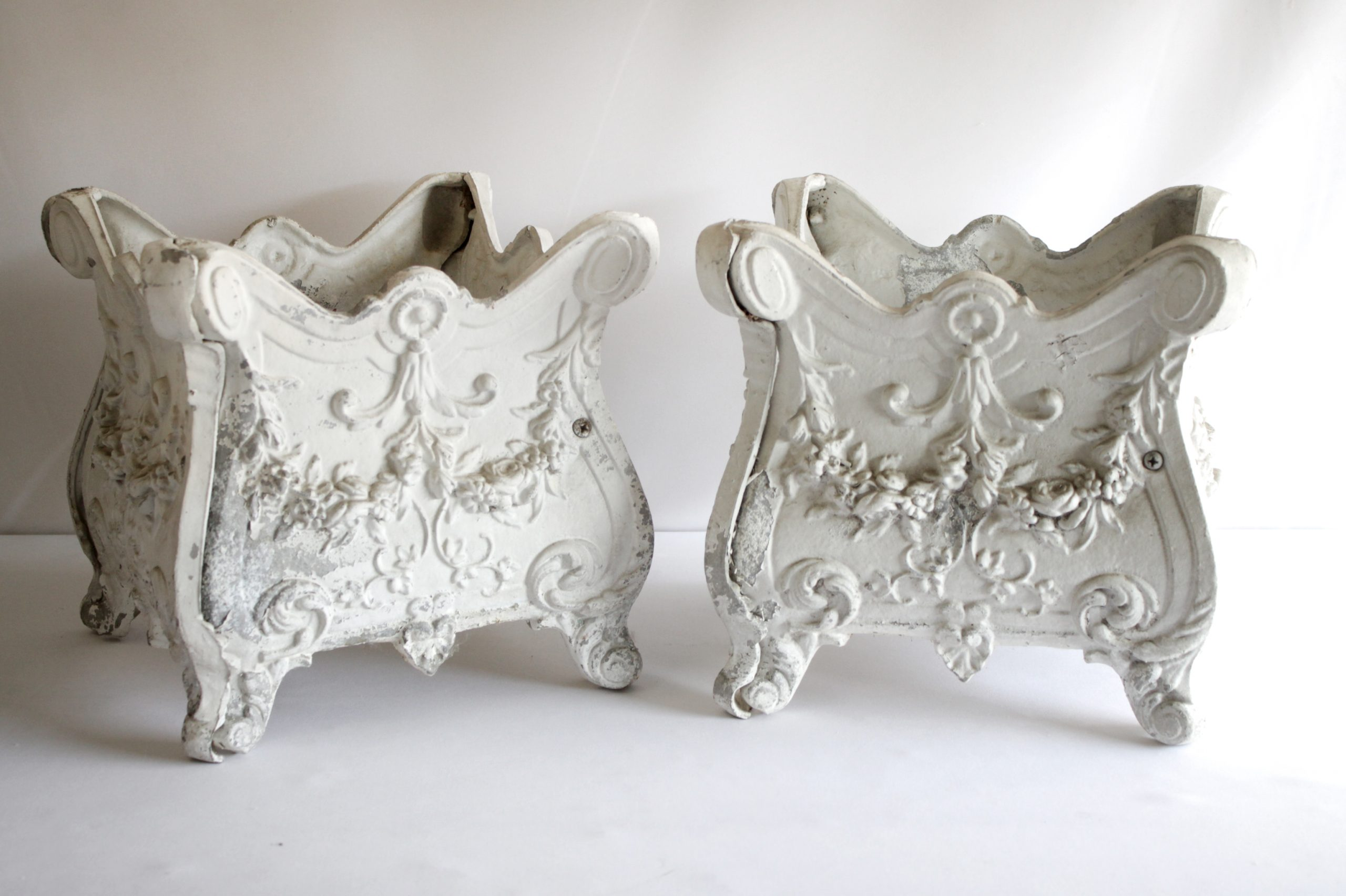 Pair of Rose Swag Painted White Metal Jardinières